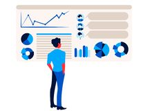 Бизнесмен смотрит infographics отчета на диаграмме и диаграмме доски диаграммы офиса иллюстрация вектора