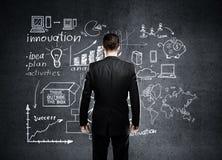 Бизнесмен смотря к бизнес-плану Стоковое Изображение RF