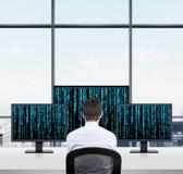 Бизнесмен смотря к матрице Стоковая Фотография RF