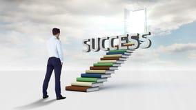 Бизнесмен смотря слово на лестнице сделанной из книг акции видеоматериалы