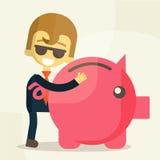 Бизнесмен сохраняет деньги Стоковое фото RF