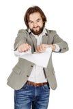 Бизнесмен срывая вверх контракт или согласование Стоковая Фотография RF