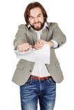 Бизнесмен срывая вверх документ, контракт или согласование Стоковое Изображение