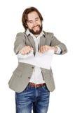 Бизнесмен срывая вверх документ Стоковые Изображения RF