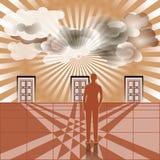 Бизнесмен стоит перед 3 закрытыми дверями бесплатная иллюстрация