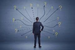Бизнесмен стоя в концепции знаков линий фронта и вопросительного знака Стоковое фото RF