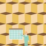 Бизнесмен стоя и указывая на календарь со звездой Человек в костюме представляя красочную доску объявлений повешенную на стене бесплатная иллюстрация