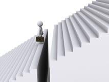 Бизнесмен стоя перед зазором лестниц иллюстрация штока