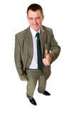 бизнесмен счастливый его остроконечный большой пец руки вверх Стоковые Фотографии RF