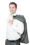 бизнесмен счастливый его стойки куртки Стоковое Фото