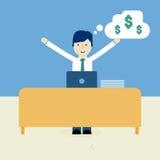 Бизнесмен счастливый на работе Стоковые Изображения RF