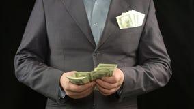 Бизнесмен считая доллары, стратегию успеха, деньги и карьеру, финансы стоковые фотографии rf