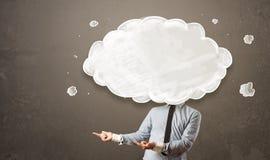 Бизнесмен с белым облаком на его головной концепции Стоковые Фото