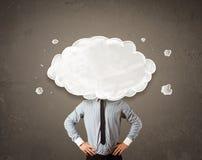 Бизнесмен с белым облаком на его головной принципиальной схеме Стоковое Фото