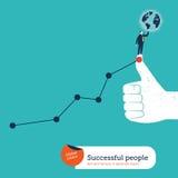 Бизнесмен с глобусом дальше я люблю рука и диаграмма Стоковое Изображение RF