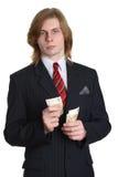 Бизнесмен с деньгами евро Стоковое фото RF
