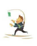 Бизнесмен с деньгами на рыболовной удочке вектор Плоский дизайн стоковая фотография