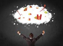 Бизнесмен с диаграммами в облаке над его головой Стоковые Фото