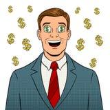 Бизнесмен с долларом подписывает внутри наблюдает искусство шипучки Стоковое Изображение RF