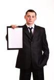 Бизнесмен с доской сзажимом для бумаги Стоковые Изображения RF