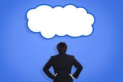 Бизнесмен с думает облако стоковая фотография