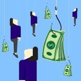 Бизнесмен с деньгами приманки на дизайне вектора удя крюка иллюстрация штока