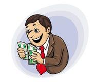 Бизнесмен с деньгами иллюстрация штока