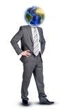Бизнесмен с землей вместо возглавляет Стоковая Фотография RF