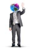 Бизнесмен с земли головой и рукой вместо вверх Стоковые Фото