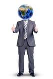 Бизнесмен с земли о'кей показа вместо головным Стоковое Изображение RF