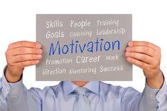 Бизнесмен с знаком мотивировки Стоковая Фотография RF