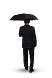 Бизнесмен с зонтиком стоковые фотографии rf