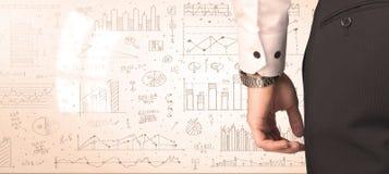 Бизнесмен с диаграммами и диаграммами Стоковое Изображение RF