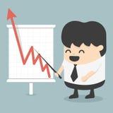 Бизнесмен с диаграммой дела растущей бесплатная иллюстрация