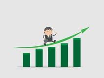 Бизнесмен с диаграммой роста дела или инвестирует запас и получает верхнее значение Конспект персонажа из мультфильма иллюстрации Стоковые Фотографии RF