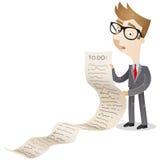 Бизнесмен с длинным списком дел бесплатная иллюстрация