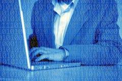 Бизнесмен с компьютером Стоковые Фото