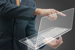 Бизнесмен с компьютером Стоковые Изображения RF