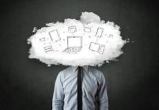 Бизнесмен с концепцией головы сети облака Стоковая Фотография RF