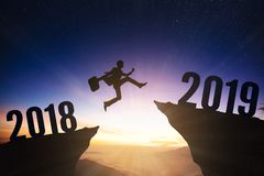 бизнесмен с концепцией 2019 Новых Годов стоковое фото