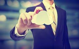 Бизнесмен с концепцией облака вычисляя Стоковое Изображение RF
