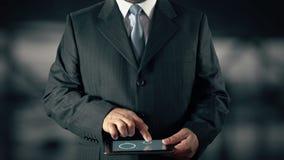 Бизнесмен с концепцией hologram здоровья выбирает образ жизни от слов иллюстрация вектора
