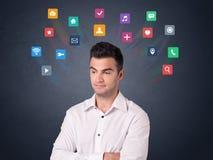 Бизнесмен с красочными apps Стоковое Изображение
