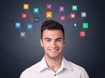 Бизнесмен с красочными apps Стоковые Фотографии RF