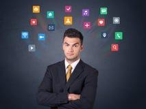 Бизнесмен с красочными apps Стоковое Изображение RF