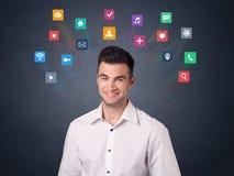 Бизнесмен с красочными apps Стоковое фото RF
