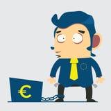 Бизнесмен с кризисом евро, вектором, иллюстрацией Стоковое Изображение