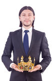 Бизнесмен с кроной Стоковое Изображение