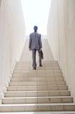 Бизнесмен с лестницей - принципиальной схемой дела Стоковые Фотографии RF