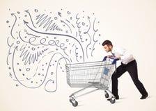 Бизнесмен с магазинной тележкаой Стоковая Фотография RF